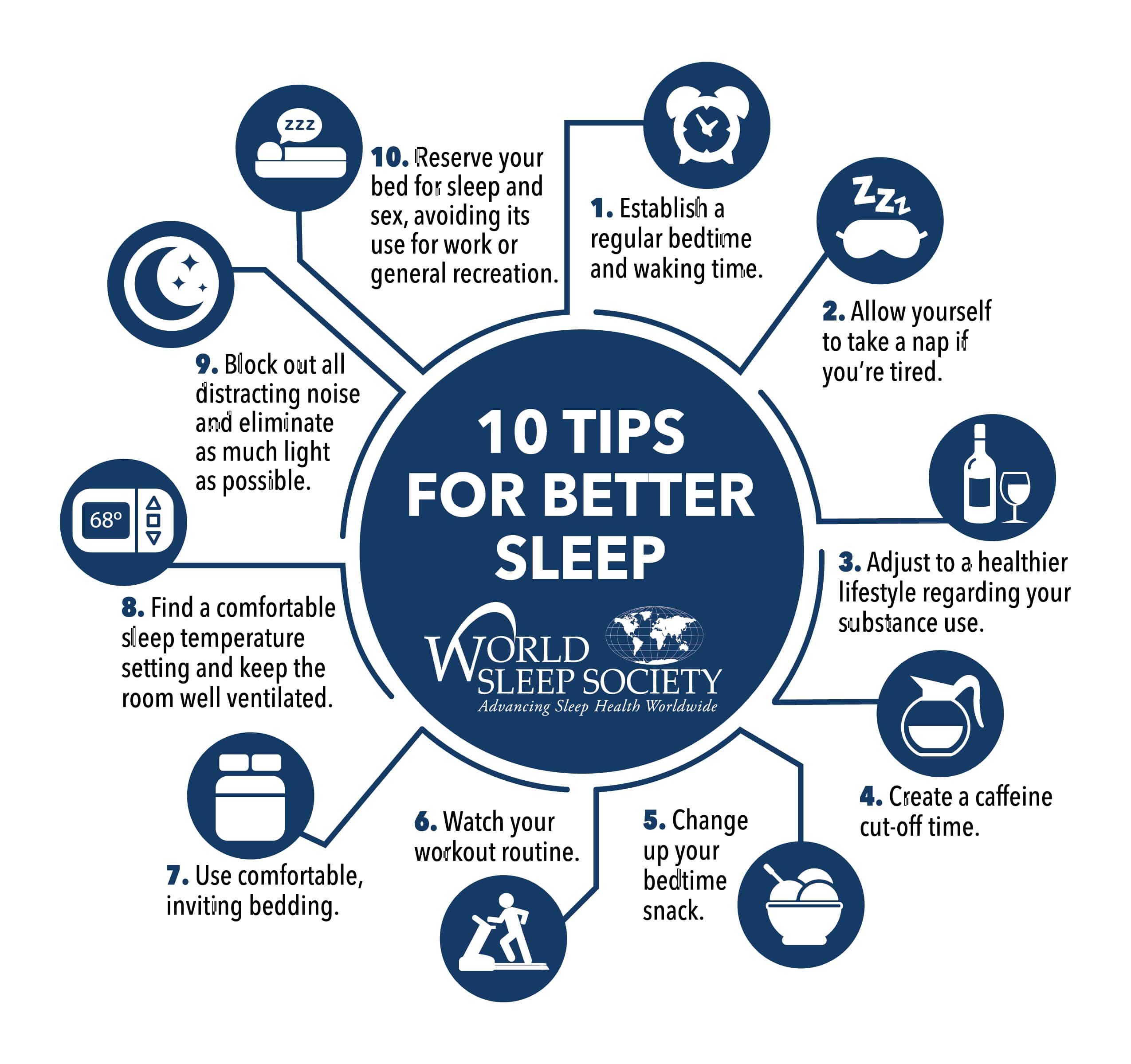 10 tips for better sleep graphic